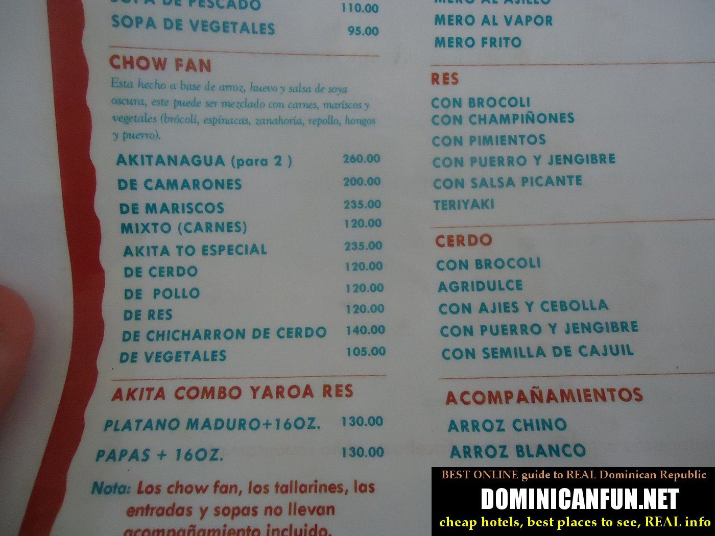 Prices Of Food In Dominican Republic